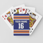 "Navy Blue with Orange White Stripes Team Jersey Playing Cards<br><div class=""desc"">Preppy Sporty Navy Blue with Pumpkin Orange and White Stripes Team Jersey / Sports Jersey / Football Jersey with Custom Name, Custom Number Customize this with your own name or team name and a number. You can change the size, color and placement of the text if you need to make...</div>"