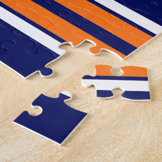 Navy Blue with Orange White Stripes Team Jersey Puzzle