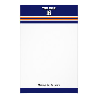 Navy Blue with Orange White Stripes Team Jersey Stationery