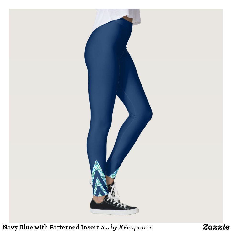 d086368426da7 Navy Blue with Patterned Insert at Cuffs Leggings - Yoga Leggings And Exercise  Tights With Beautiful