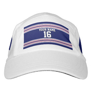 Navy Blue with Pink White Stripes Team Jersey Headsweats Hat