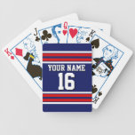 Navy Blue with Red White Stripes Team Jersey Bicycle Playing Cards