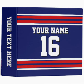 Navy Blue with Red White Stripes Team Jersey Binder
