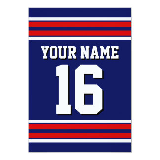 Navy Blue with Red White Stripes Team Jersey Card