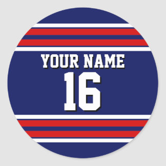 Navy Blue with Red White Stripes Team Jersey Classic Round Sticker