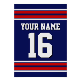 Navy Blue with Red White Stripes Team Jersey Poster