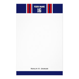 Navy Blue with Red White Stripes Team Jersey Stationery