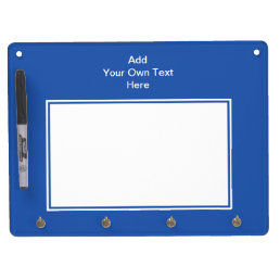 Navy blue with white area and text. dry erase board with keychain holder