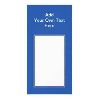 Navy blue with white area and text. picture card