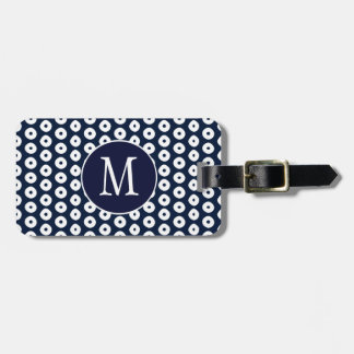 Navy Blue With White Dots And Monogram Bag Tag