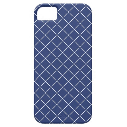 Navy Blue with White Quilted Pattern iPhone 5 Cases