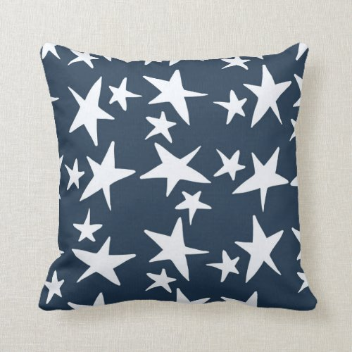 Navy Blue with White Stars Decorator Pillow