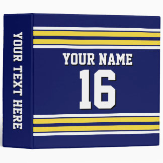 Navy Blue with Yellow White Stripes Team Jersey 3 Ring Binder