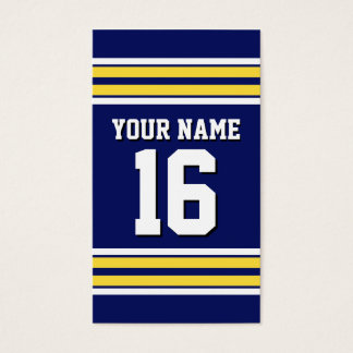 Navy Blue with Yellow White Stripes Team Jersey Business Card