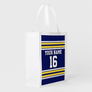Navy Blue with Yellow White Stripes Team Jersey Market Tote