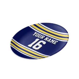 Navy Blue with Yellow White Stripes Team Jersey Porcelain Plate