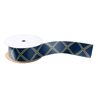Navy Blue with Yellow X's Satin Ribbon
