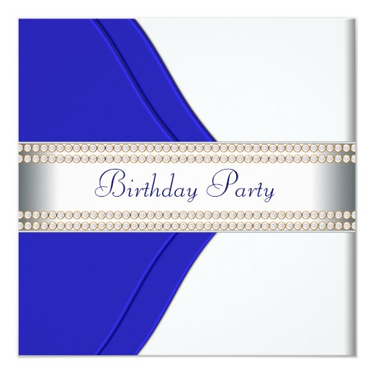 Navy Blue Womans Birthday Party Card