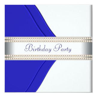 Navy Blue Womans Birthday Party Invitation