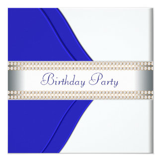 "Navy Blue Womans Birthday Party 5.25"" Square Invitation Card"