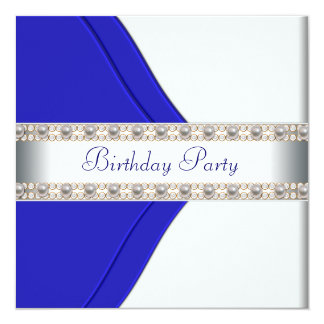 Navy Blue Womans Birthday Party Invitations