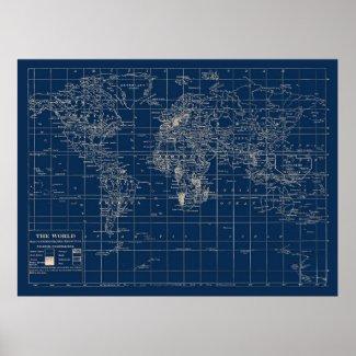 Navy Blue World Map Poster