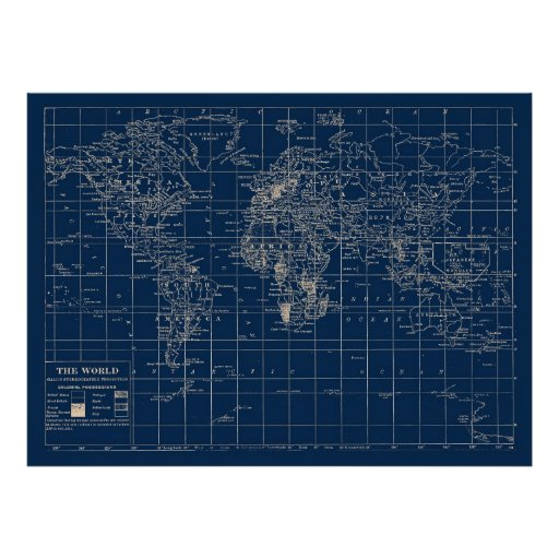 Navy Blue World Map Print