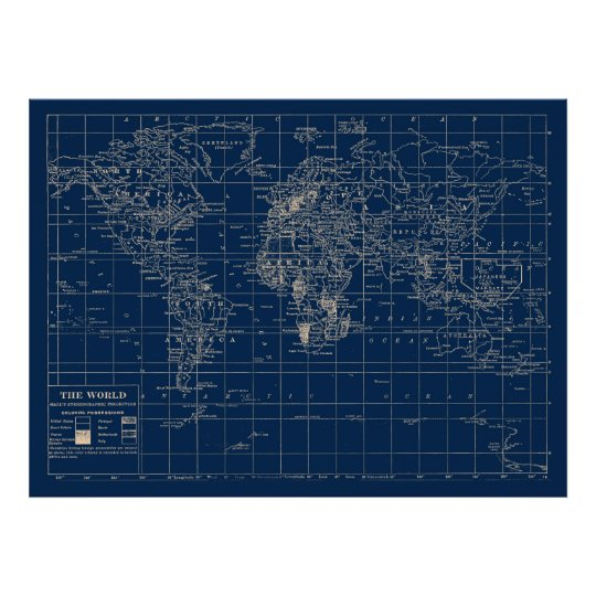 Navy blue world map poster zazzle navy blue world map poster gumiabroncs Choice Image