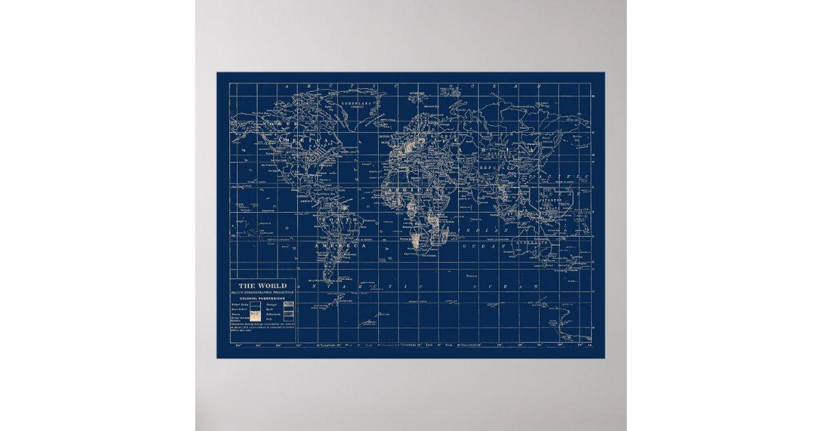 Navy blue world map poster zazzle gumiabroncs Choice Image