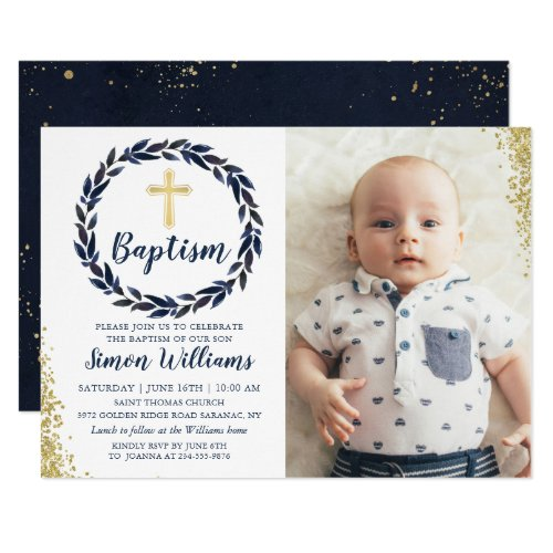 Navy Blue Wreath Gold Glitter Boy Baptism Photo Invitation