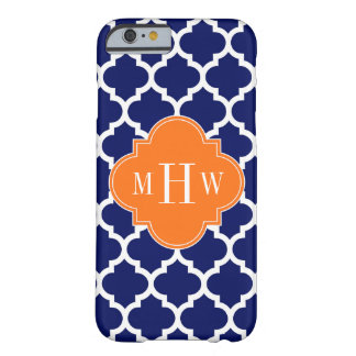 Navy Blue Wt Chevron Pumpkin Quatrefoil 3 Monogram Barely There iPhone 6 Case