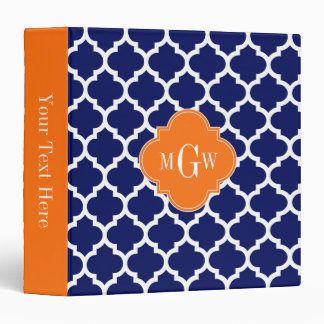 Navy Blue Wt Chevron Pumpkin Quatrefoil 3 Monogram Binder