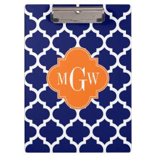 Navy Blue Wt Chevron Pumpkin Quatrefoil 3 Monogram Clipboard