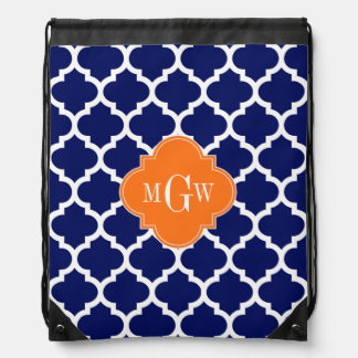 Navy Blue Wt Chevron Pumpkin Quatrefoil 3 Monogram Drawstring Backpack