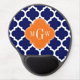 Navy Blue Wt Chevron Pumpkin Quatrefoil 3 Monogram Gel Mouse Pad