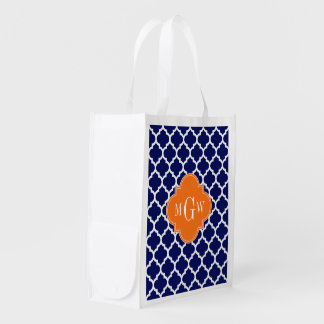 Navy Blue Wt Chevron Pumpkin Quatrefoil 3 Monogram Grocery Bag