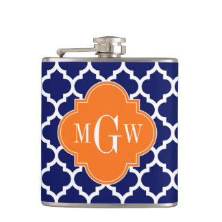 Navy Blue Wt Chevron Pumpkin Quatrefoil 3 Monogram Hip Flask