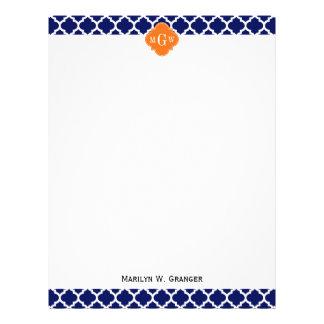 Navy Blue Wt Chevron Pumpkin Quatrefoil 3 Monogram Letterhead