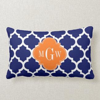 Navy Blue Wt Chevron Pumpkin Quatrefoil 3 Monogram Lumbar Pillow