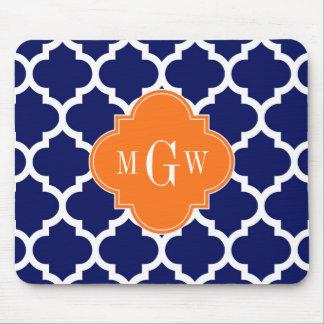 Navy Blue Wt Chevron Pumpkin Quatrefoil 3 Monogram Mouse Pad
