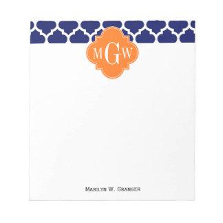 Navy Blue Wt Chevron Pumpkin Quatrefoil 3 Monogram Notepad