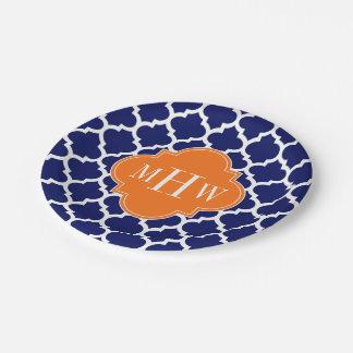 Navy Blue Wt Chevron Pumpkin Quatrefoil 3 Monogram Paper Plate