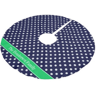 Navy Blue Wt Polka Dot Emerald Green Name Monogram Brushed Polyester Tree Skirt