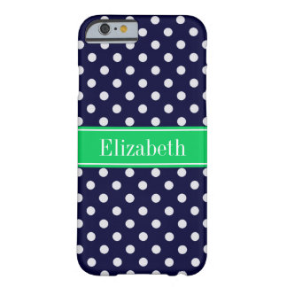 Navy Blue Wt Polka Dot Emerald Green Name Monogram Barely There iPhone 6 Case