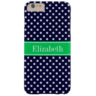 Navy Blue Wt Polka Dot Emerald Green Name Monogram Barely There iPhone 6 Plus Case