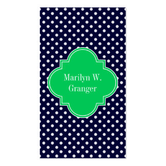 Navy Blue Wt Polka Dot Emerald Green Name Monogram Double-Sided Standard Business Cards (Pack Of 100)