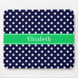 Navy Blue Wt Polka Dot Emerald Green Name Monogram Mouse Pad