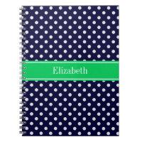Navy Blue Wt Polka Dot Emerald Green Name Monogram Notebook