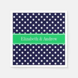Navy Blue Wt Polka Dot Emerald Green Name Monogram Paper Napkin