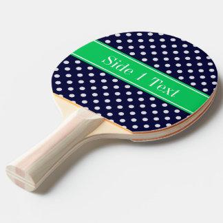 Navy Blue Wt Polka Dot Emerald Green Name Monogram Ping-Pong Paddle
